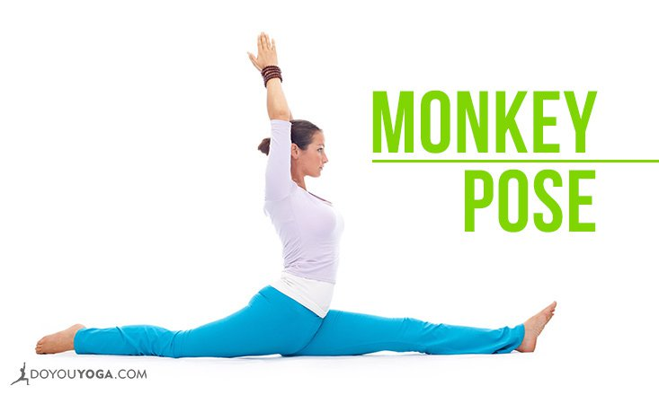 Woman in Hanumanasana, split pose, or monkey pose
