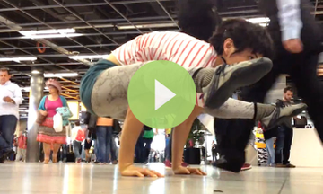 Airport Yoga Demo: Being Slow In A Fast World (VIDEO)