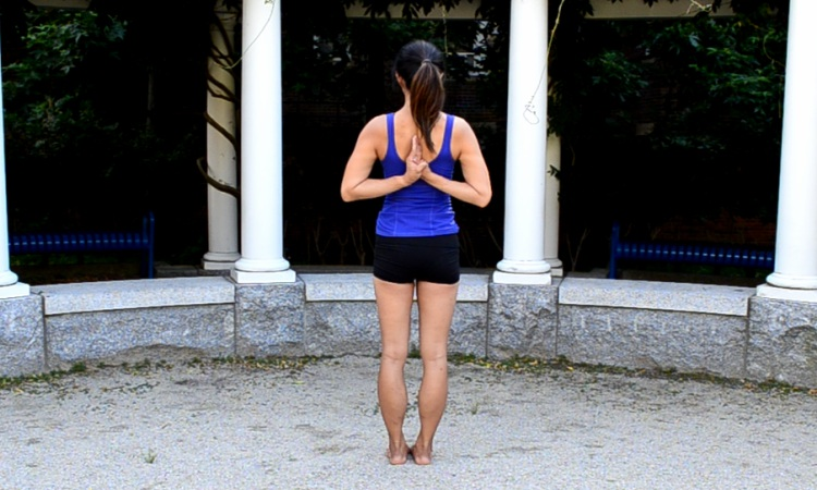 tadasana hands in anjali mudra
